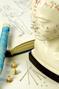 Akupunkturnadeln mit Lehrbuch, Kopfmodell und Moxarolle